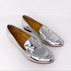 J.Crew   Metallic Silver Stacked Heel Loafer   8.5
